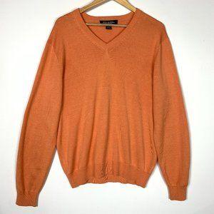 Brooks Brothers Silk Orange V-Neck Pullover Sweate